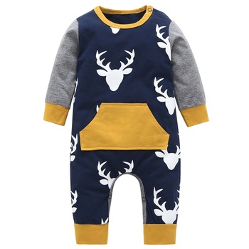 Autumn 2020 Baby rompers baby boy clothing cotton newborn baby boy clothes long sleeve Deer head infant newborn jumpsuit outfits