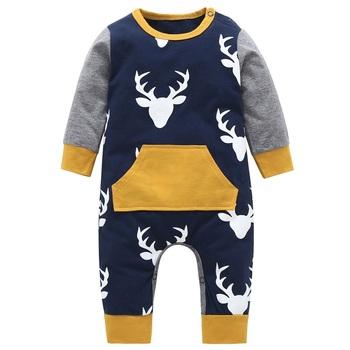 Jesień 2020 śpioszki dla niemowląt Baby boy odzież bawełna noworodka baby boy ubrania z długim rękawem głowa jelenia niemowlę kombinezon dla noworodka stroje tanie i dobre opinie Wotisyge COTTON Moda O-neck Zestawy Swetry Pełna REGULAR Pasuje prawda na wymiar weź swój normalny rozmiar Czesankowej