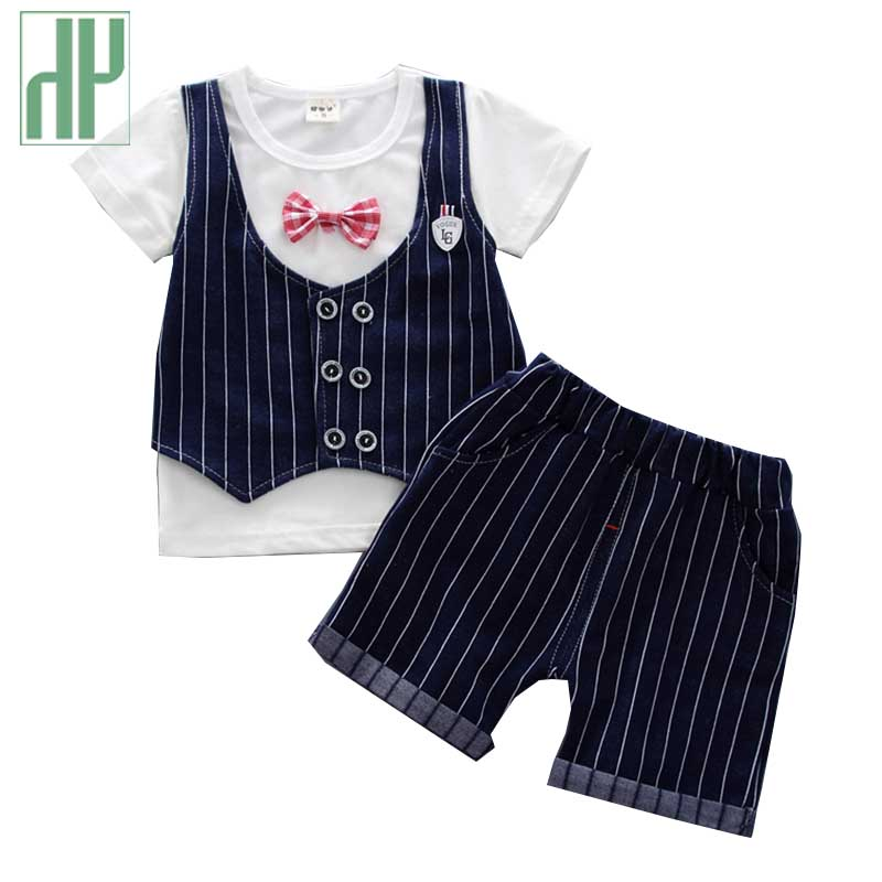 Toddler Boy Summer time Garments Bow Gentleman T Shirt + Pants Boutique Youngsters Put on Child Boys Clothes Units Woman Outfit zero 2 three Years Clothes Units, Low cost...