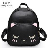 Cat Backpack Black Preppy Style School Backpacks Funny Quality Pu Leather Fashion Women Shoulder Bag Travel