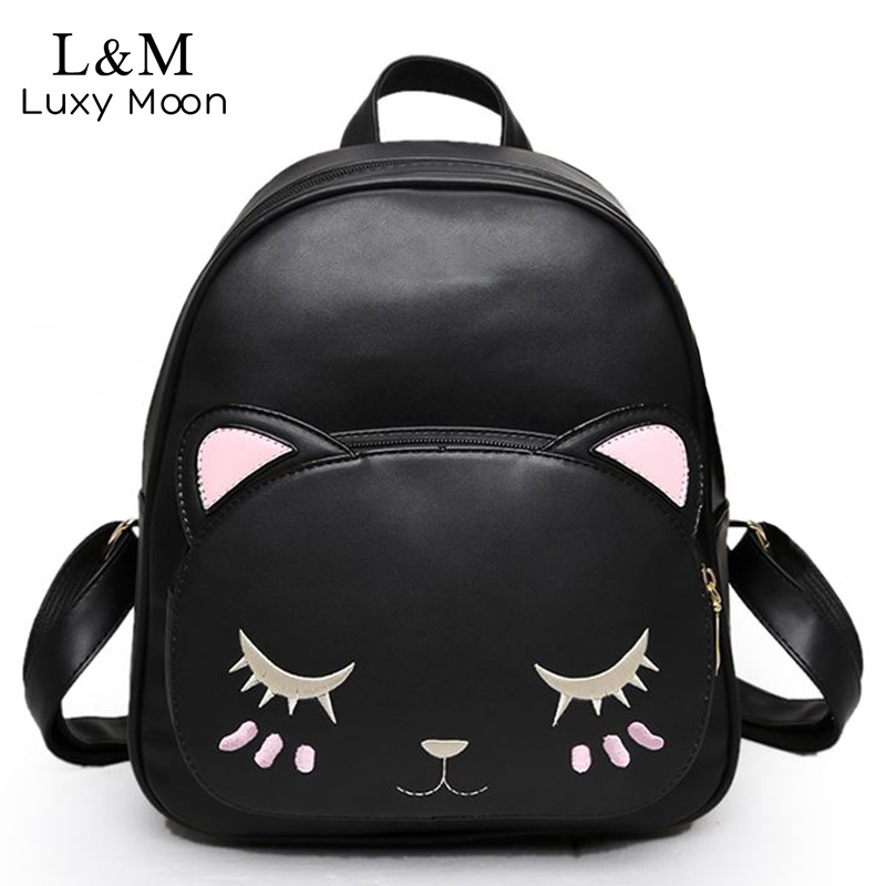 Cat Backpack Black Preppy Style School Backpacks Funny Quality Pu Leather Fashion Women Shoulder Bag Travel Back Pack Sac XA322H цена и фото
