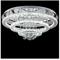 Hall Hotel LED Crystal Pendant Lights 300mm 500mm 700mm Stainless Steel With Remote Control One Light