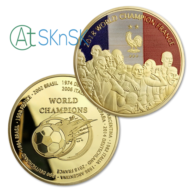 Wholesale World Big Event France World Champion Challenge Coins Gold Plated Commemorative Coins Collection of Souvenirs
