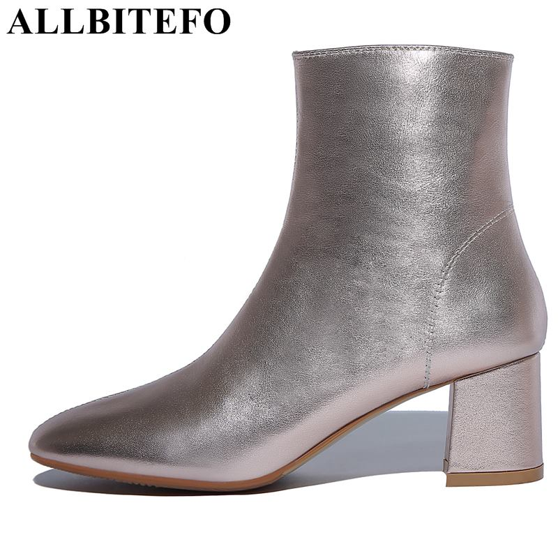 Allbitefo Genuino Las Alto Mujer Cuero Femininas Tacón Zapatos Marca Oro Botas De Moda plata Mujeres Grueso pAfrwpq