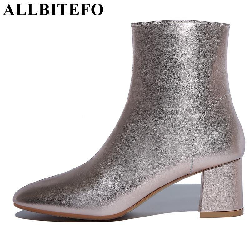 ALLBITEFO genuine leather thick heel women boots fashion brand high heels ankle boots women martin boots botas femininas женские блузки и рубашки hi holiday roupas femininas blusa blusas femininas