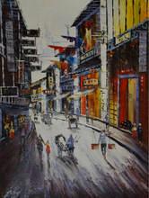 Расписанная вручную картина маслом на холсте китайский шанхай