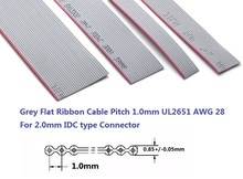 2 метра 1,0 мм UL2651 серый Гибкий плоский кабель 6 8 9 10 12 14 16 20 24 26 30 40 50 60 64 Pin 28 AWG ленточный разъем IDC 2,0 мм