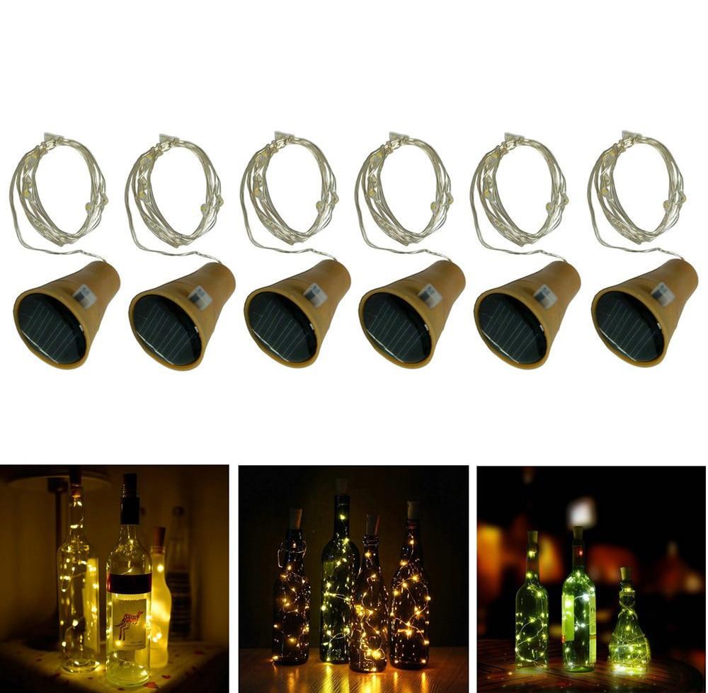 10//15//20LEDs Solar//Battery Wine Bottle Cork Shaped Fairy String Light Xmas Decor