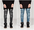 Mens Skinny jeans hombres 2016 Runway Apenada elástico delgado jeans denim biker jeans hip hop pantalones washed jeans para hombre negro azul