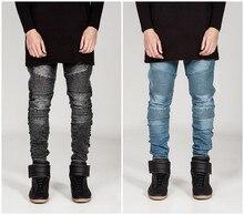 Mens Skinny jeans men 2016 Runway Distressed slim elastic jeans denim Biker jeans hip hop pants Washed black jeans for men blue