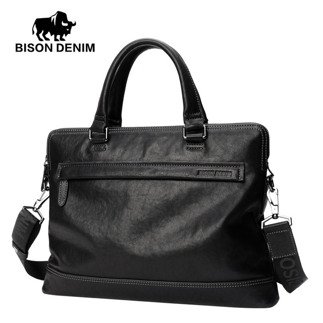 BISON DENIM Genuíno Couro maleta 14 polegada Laptop saco saco do mensageiro dos homens Casuais de Negócios Cowskin Natural N2700-3
