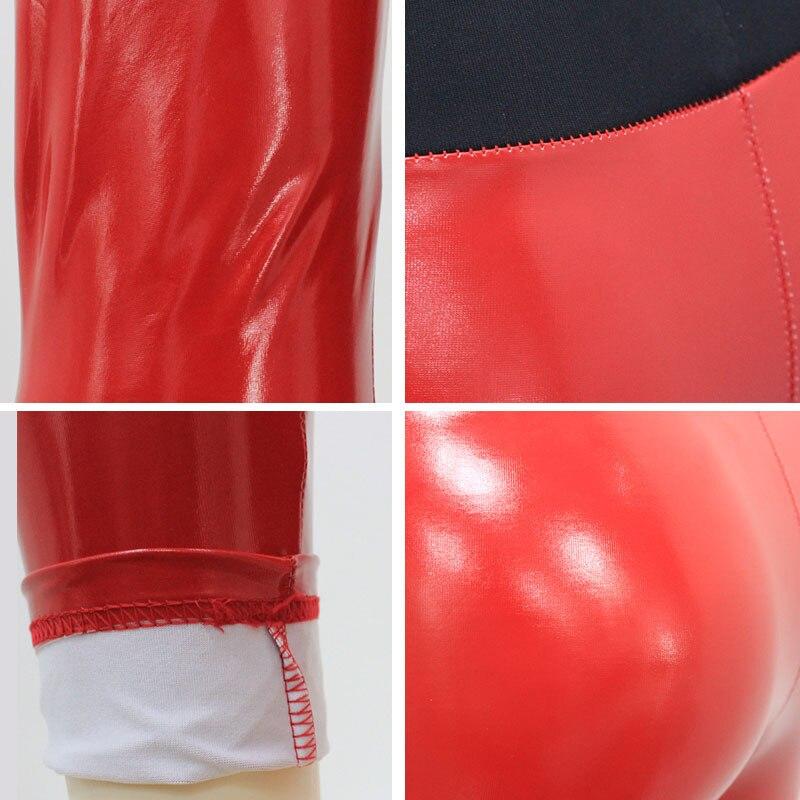 Image 5 - Women Vinyl Leggings Wet Look PU Leather Leggings Black Slim Long Pants Women Sexy Push Up Skinny Red Silver Leggings Leggins-in Leggings from Women's Clothing