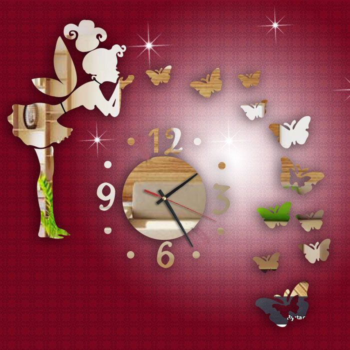 High Quality Lowest Price Modern Style Butterfly Fairy DIY Mirror Wall Clock Wall Sticker Home Decor Clock