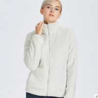 New Hot Sale Womens Soft Fleece Jackets Coats Fashion Casual Warm Long Sleeve Ladies Windproof Coats Black White S XXL 89 88