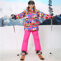 For 30 Degree Warm Coat Sporty Ski Suit Waterproof Windproof Baby Girls Jackets Kids Clothes Sets