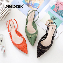 Flat Sandals Ladies Mules Slippers Styles Summer Shoes Fashion Sandals Back Strap Slides Women Pointed Toe Shoes Stripe