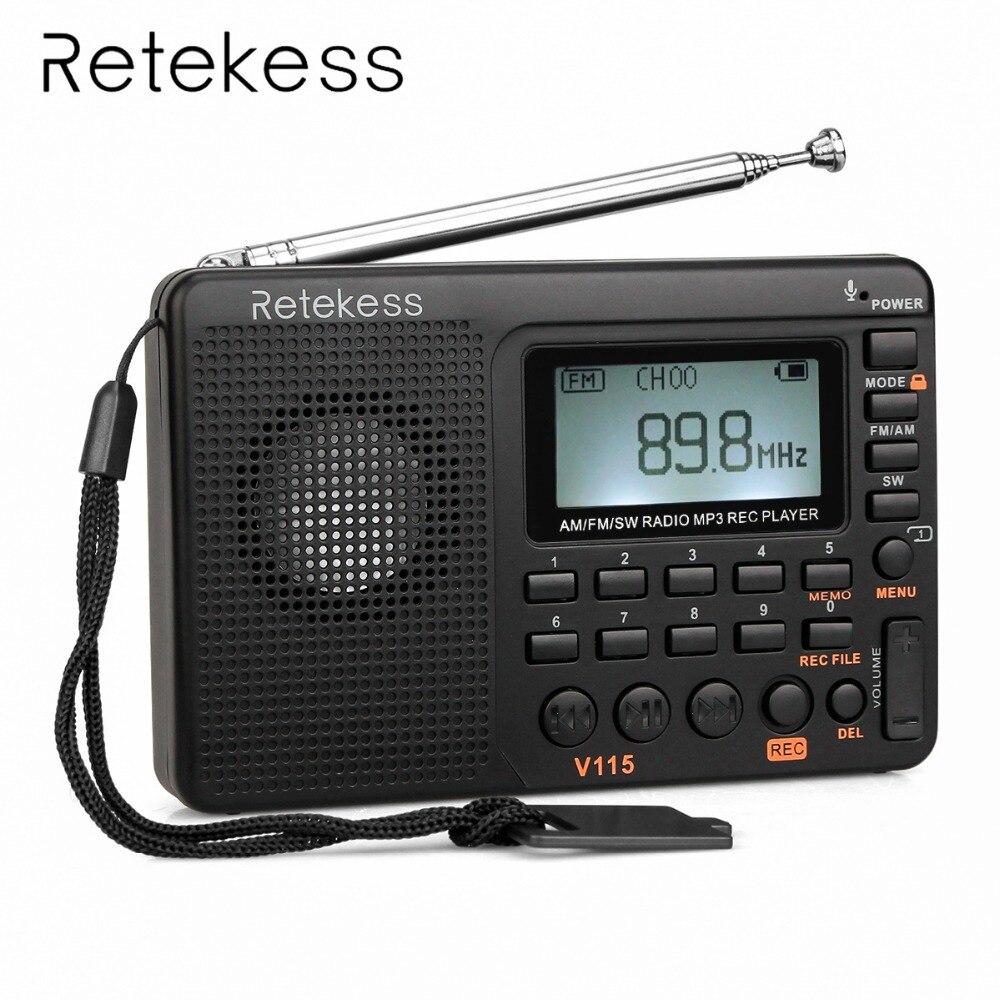 Retekess V115 Portable Radio FM/AM/SW World Band Receiver MP3 Player REC Recorder With Sleep Timer Black FM Radio Recorder цена 2017