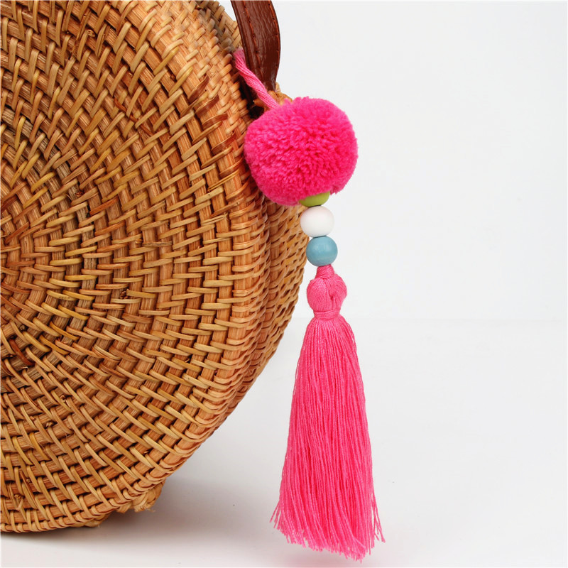 1pc DIY Handmade Pompom Bag Accessories With Tassel Wooden Beads Charms Keyring Boho Jew ...