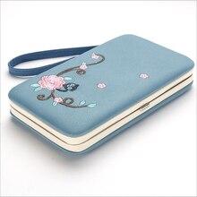 Модный женский кошелек с цветочным принтом, Женский кошелек с длинной застежкой, женская сумка для денег, Брендовые женские кошельки, клатч из ПУ кожи, три сложения, 168