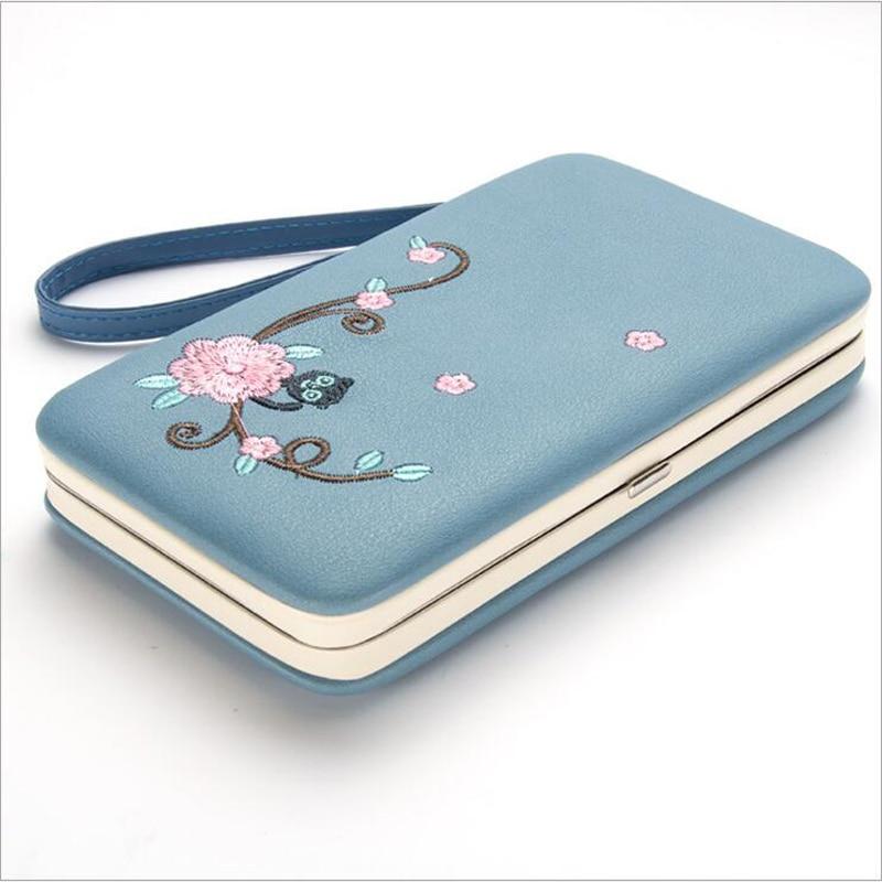 купить 2018 Fashion Floral Women purse women's wallet long clasp female money bag brand lady wallets clutch PU leater Three fold 168 по цене 518.14 рублей
