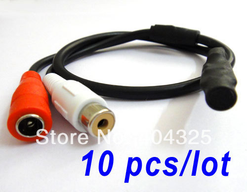 10pcs Mini Mic CCTV Audio Microphone Cable Adapter for Security Camera