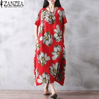 2017 Tops Blusas ZANZEA Women Floral Printed Round Neck Tunic Baggy Kaftan Summer Short Sleeve Long