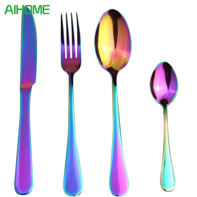 4 Pcs Stainless Steel Colorful Cutlery Set Rainbow Gold Plated Dinnerware Creative Dinner Set Fork Knife  sc 1 st  AliExpress.com & 4 Pcs Stainless Steel Colorful Cutlery Set Rainbow Gold Plated ...