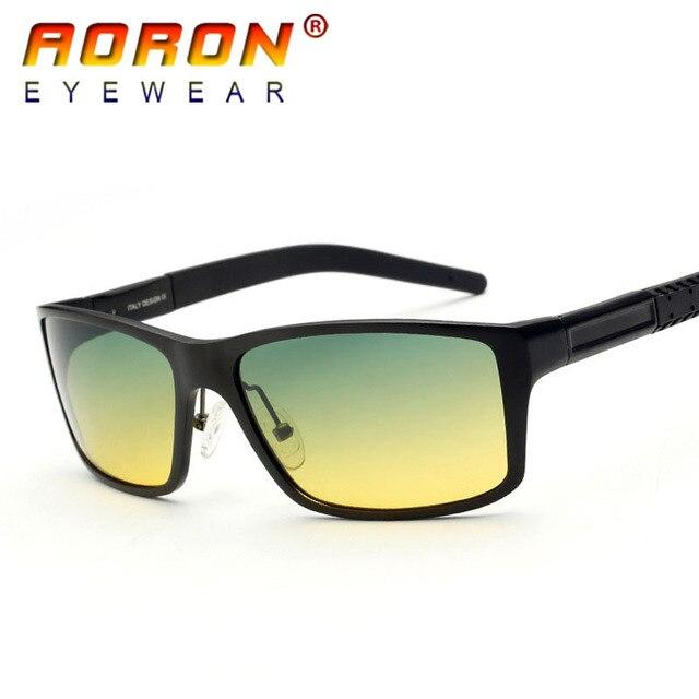 44293d3fbbc7 Aoron Men s Day Night Vision Goggle Driving Polarized Sunglasses Goggles Glasses  Aluminium Magnesium Frame Eyewear 8554 For