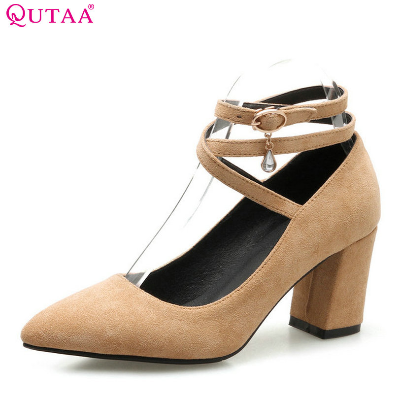 QUTAA 2018 Women Pumps Fashion Buckle Women Shoes Scrub Square High Heel Pointed Toe Platform All Match Ladies Pumps Szie 34-43 xiaying smile summer new woman sandals platform women pumps buckle strap high square heel fashion casual flock lady women shoes
