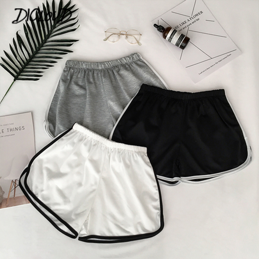 2019 Simple Women Casual Shorts Patchwork Body Fitness Workout Summer Shorts Female Elastic Skinny Slim Beach Egde Short Hot(China)