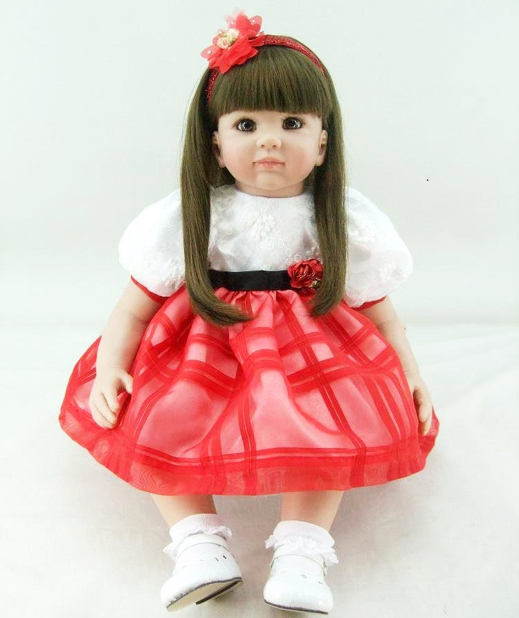Pursue 24/60 cm Hot Handmade Red Clothes Fake Baby Doll Reborn 24 Vinyl Princess Toddler Doll for Children Girl Christmas Gift hot newest 18 inch handmade vinyl doll bjd doll with dress beautiful princess doll toy for children christmas gift