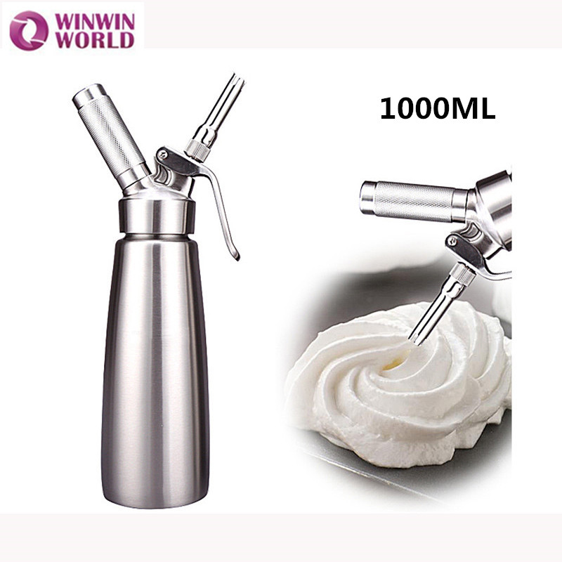 1000ML Stainless Steel n2o Cream Whipper Metal Whipped Cream Dispenser Dessert Tools With 3 Decorating Nozzles