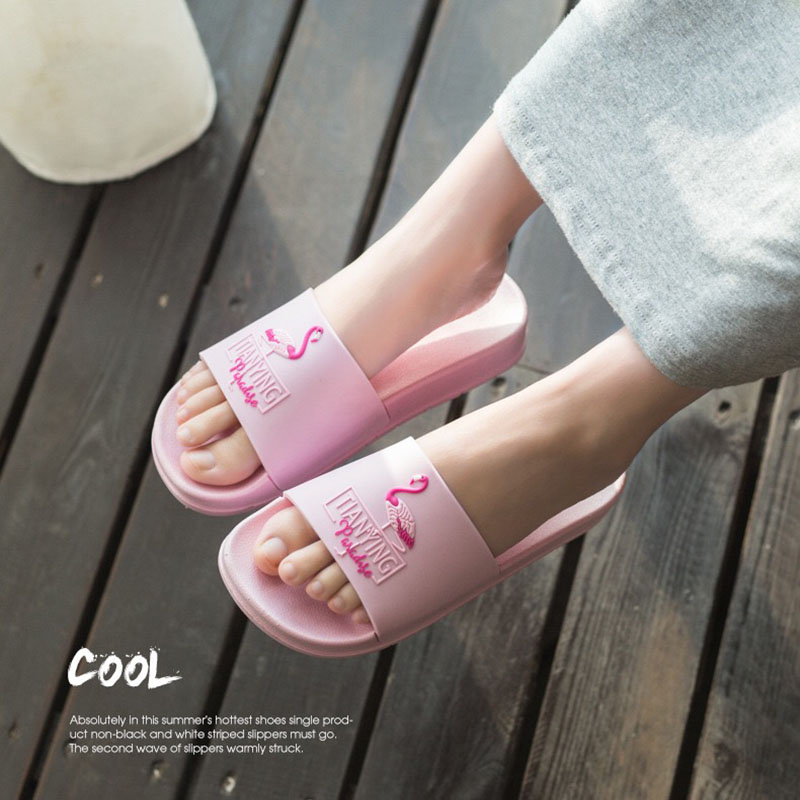 2ef23c63fbeab0 Jron Summer Women Slides Flamingo Pattern Cartoon Lovely Beach Slippers  Platform Sandals Women Shoes Flip Flops Zapatillas Mujer-in Slippers from  Shoes on ...