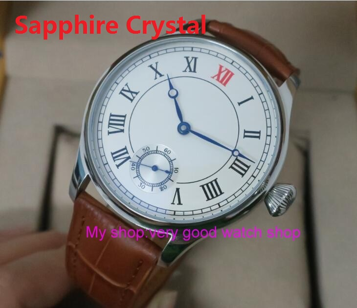 Sapphire Crystal 44mm PARNIS White dial Asian 6498/3621 Mechanical Hand Wind movement men's watch Mechanical Wristwatches 146 44mm parnis white dial asian 6498 3621 mechanical hand wind movement men s watch mechanical watches rnm9
