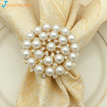 Joyathome 12pcs/Set Luxurious Gold Plated Diamond Pearl Napkin Ring Napkin Buckle Desktop Decoration for Dinner Table gold plated embellished ring set