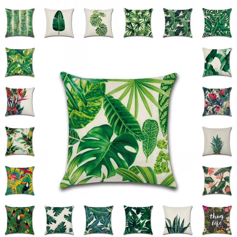 45*45cm decorative cushion covers Green Plant Tropic Tree Throw pillow case palm leaf Flower Cushion Case Sofa Car Home Decor ...