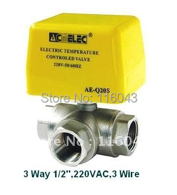 3 way 1 2 Fan Coill Thremostat Valve AC220V 3 wires 24VAC 110vac can be selected