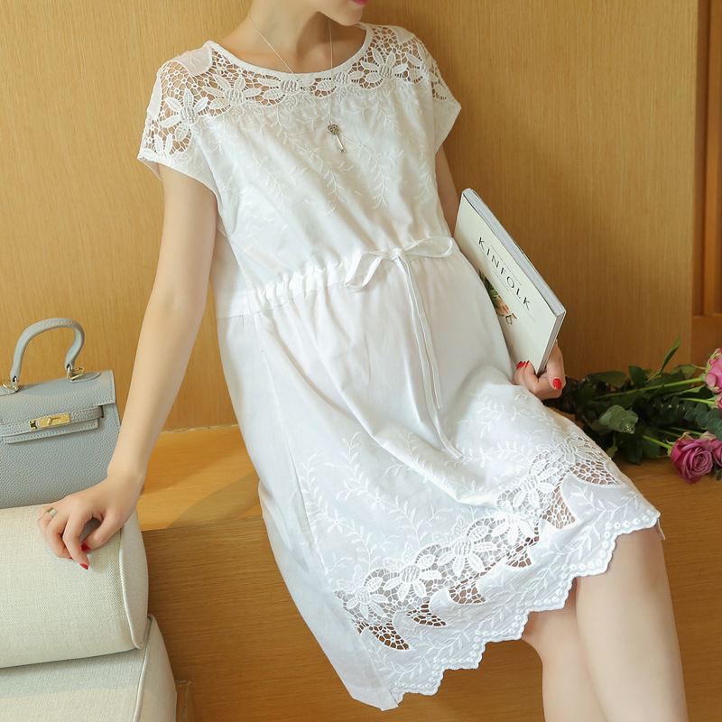 2017 pregnant women new fashion girl hollow white dress loose temperament of Maternity female dresses in summer