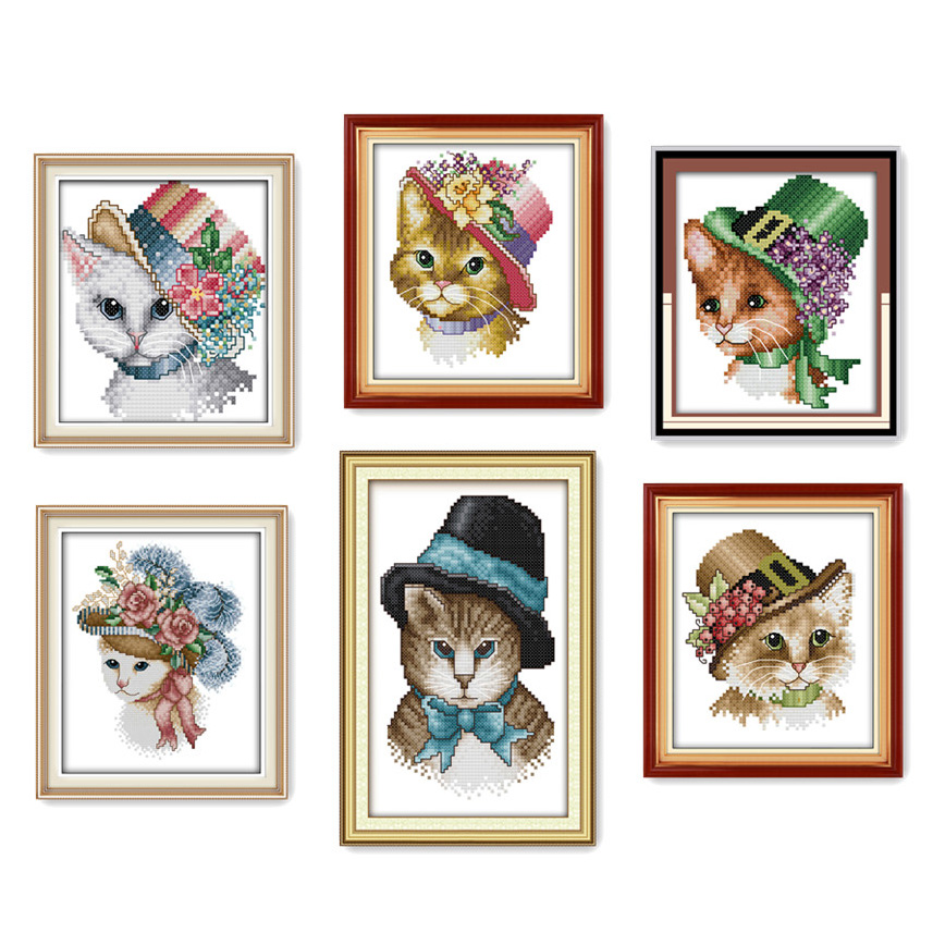 Everlasting love A noble cat Chinese cross stitch kits Ecological cotton stamped printed 11CT DIY new year decorations for home
