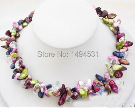 Wholesale Pearl Jewelry 2Row 19 Inches Green Purple Pink Biwa Genuine Pearl Crystal Beads Necklace Handmade Jewelry - XZN65