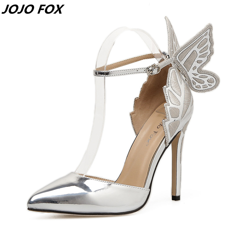 2018 New Design Stiletto Lady Pointed Toe High Heeled Shoes Women Pumps Big Butterfly Wings Summer sandals Party Zapatos Mujer lady big size 4 15 elegant summer glitter buckle strap soft pointed toe thin high heeled sandals shoes women pumps 5colors girls