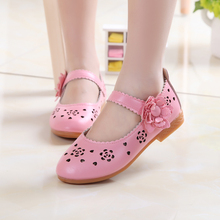 2017 Girls Sandals Spring Autumn New Children Kids Shoes Princess Shoes Hot 2 Colors Flat with Cut-outs Pink White