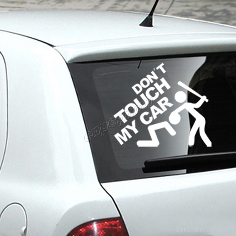19x22cm Logo For Dont Touch My Car Symbol Funny Body Rear Window
