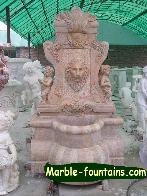 Stone Wall Fountain Traditional Lion Face Sculpture Hand Carving Marble Water Feature For Garden Decorative Design