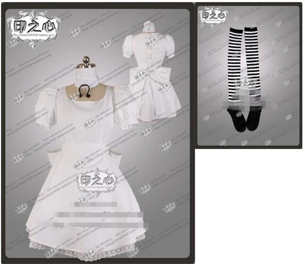 Anime Madness Returns Alice White Hot Selling Fashion Uniform Party Dress Cosplay Costume Dress+Socks alice madness returns heroine alice cosplay costume black white striped customized anime uniform