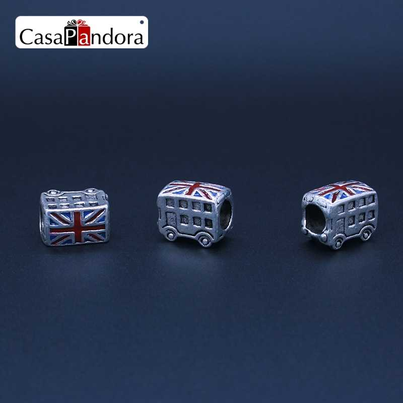 CasaPandora Silver-Colored Christmas Car Bus London Bus British Flag Fit Bracelet Charm DIY Enamel Jewelry Pingente Berloque