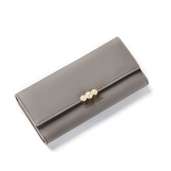 Women's Pearl Buckle Leather Wallet Bags and Wallets Hot Promotions New Arrivals Women's Wallets Color: Gray
