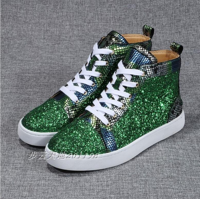 Sequined Women High Top Sneakers Bling Glitter Shoes Genuine Leather Lace-up Woman Casual Shoes Round Toe Ladies Tennis Shoes
