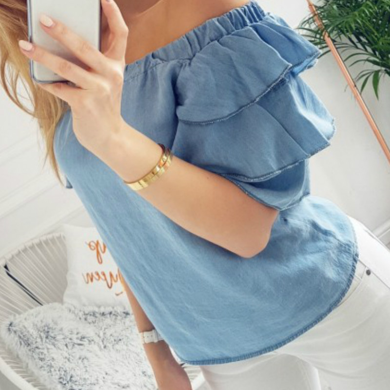 Spring Ruffles 2018 Sexy Lady Blouses Slash Neck Butterfly Sleeve Women Shirts Short Sleeve Summer Tops Blaus Plus Size GV378
