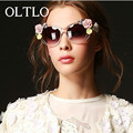 OLTLO Flowers rim Sunglasses women Designer oval rose floral sun glasses spectacles shades GIRL brand Summer Beach oculos de sol